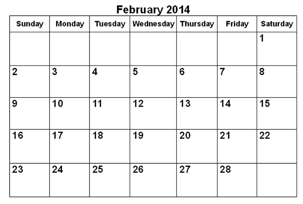 Printable 2014 Monthly Calendar Printable Calendar