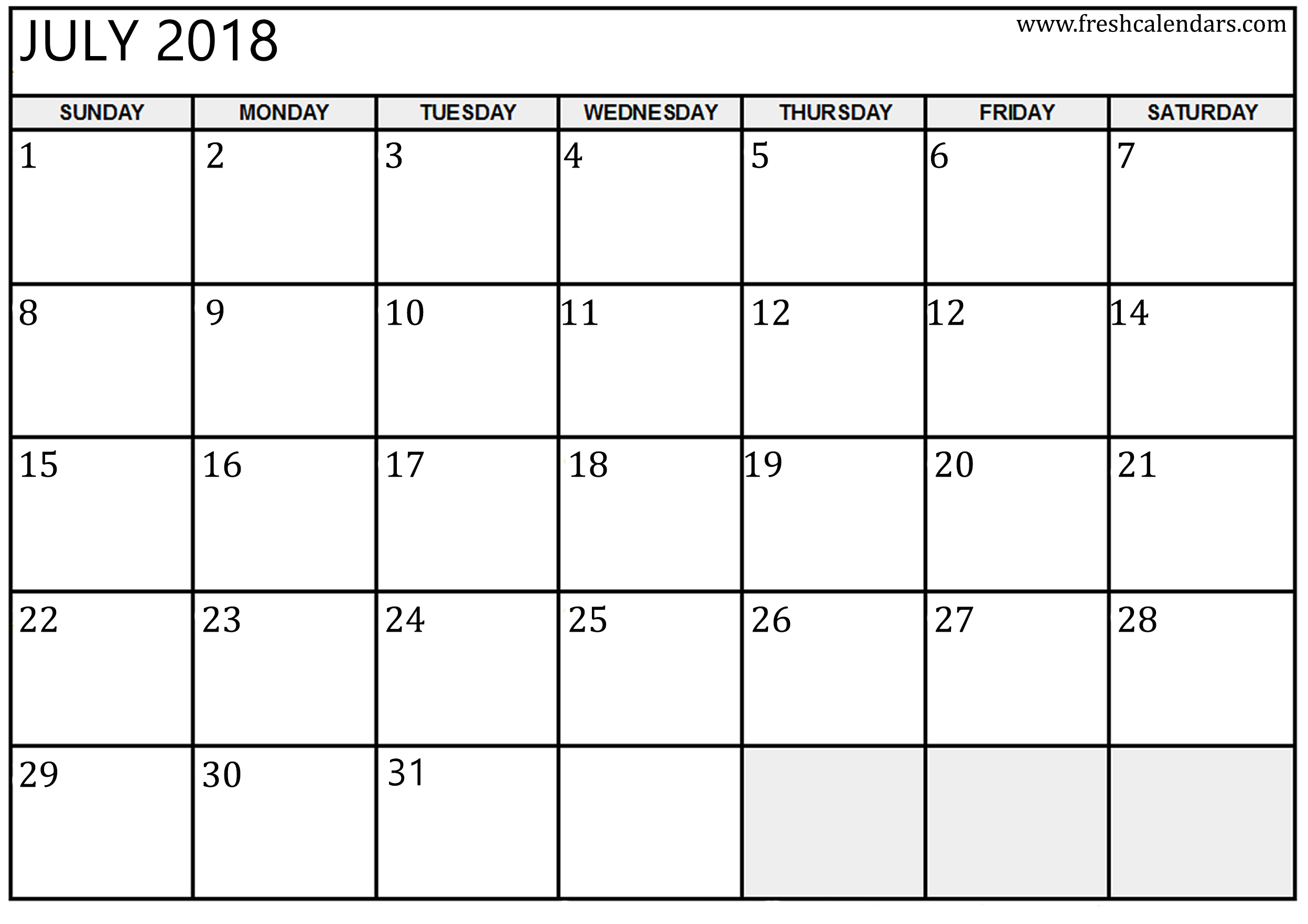 July 2018 Activity Calendar