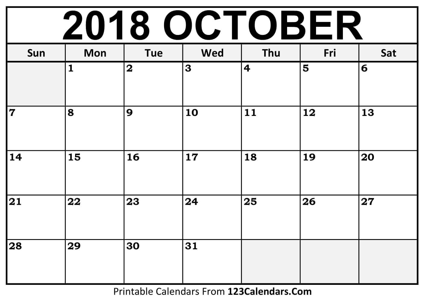 October 2018 Activity Calendar
