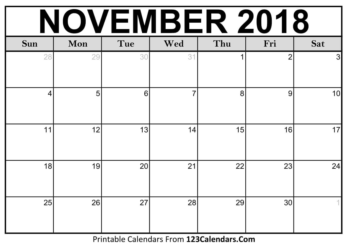 November 2018 Activity Calendar