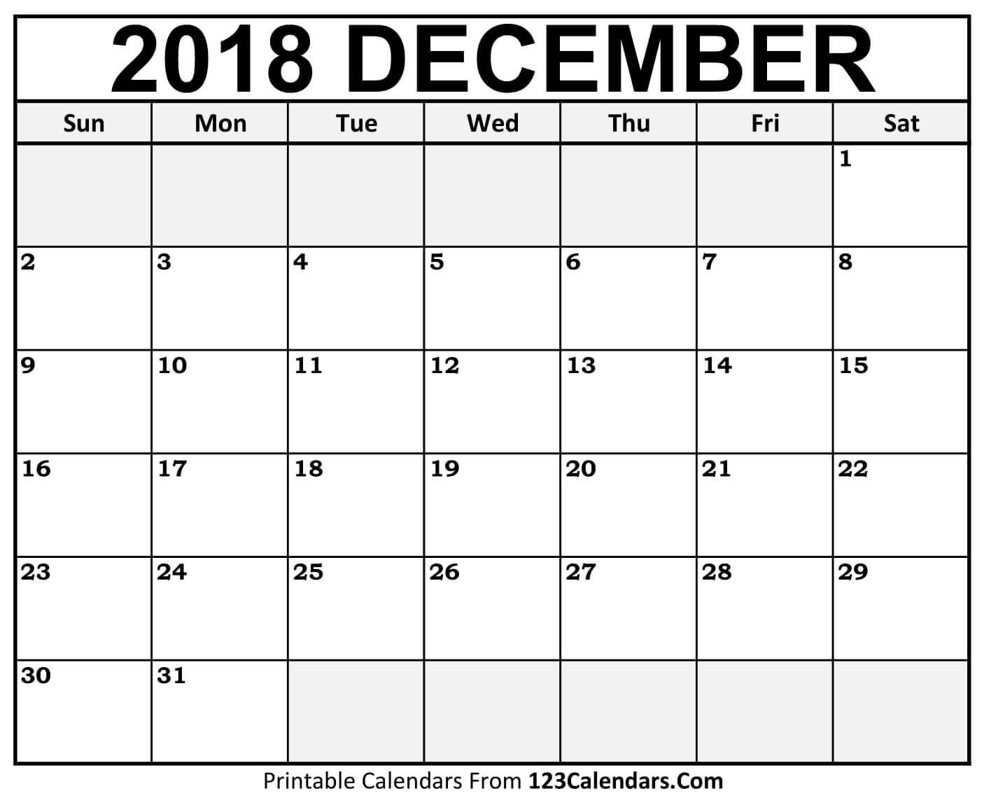 December 2018 Activity Calenda