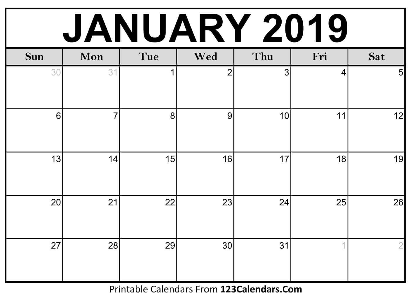 Calendar Of January 2019 January 2019 Activity Calendar – Babcock Community Care Centre