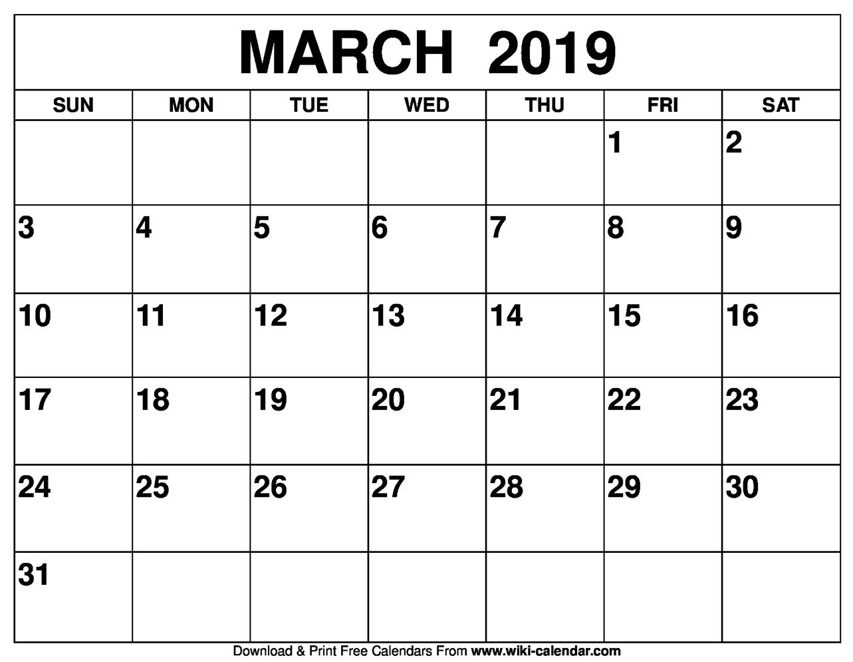March 2019 Activity Calendar
