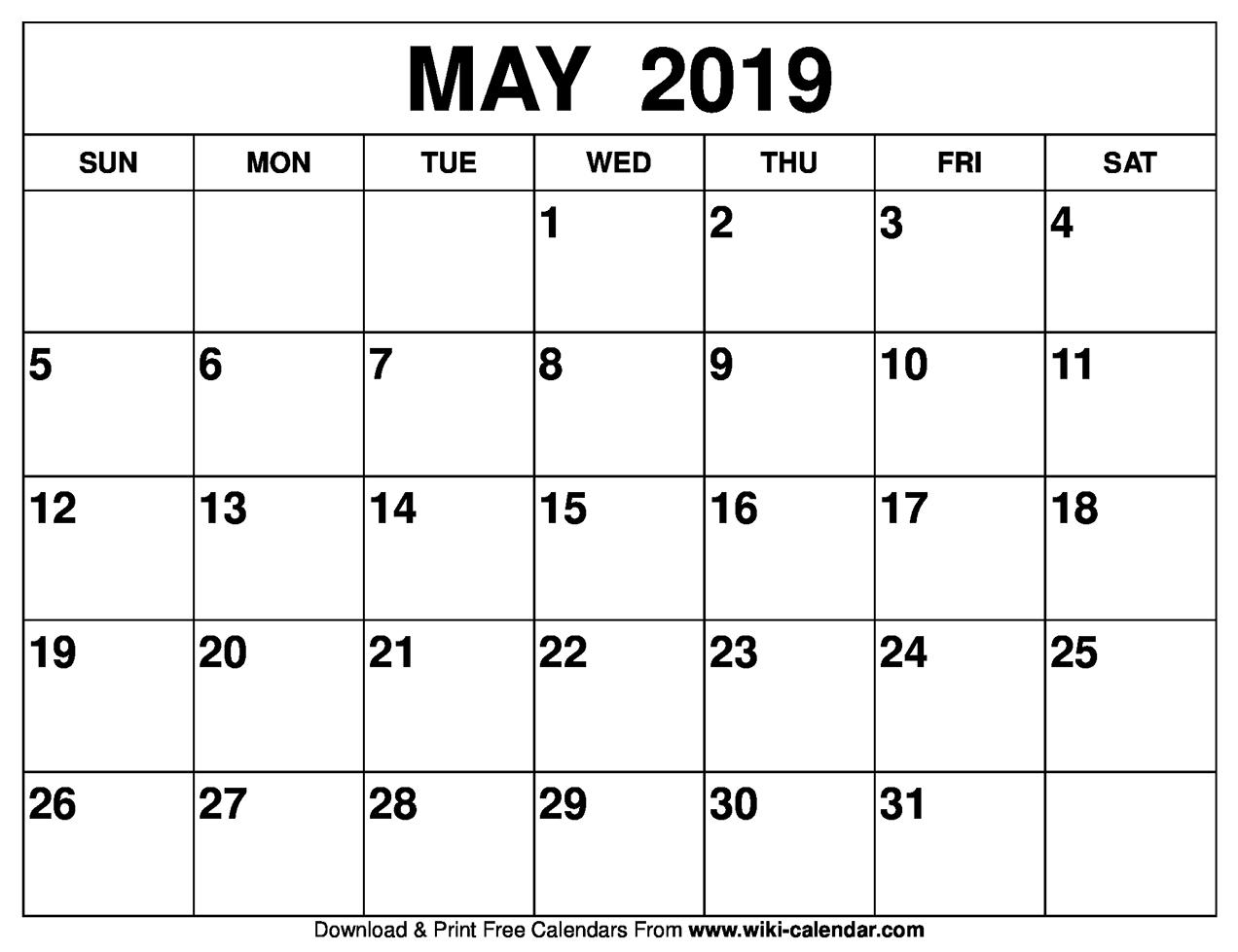 May 2019 Activity Calendar