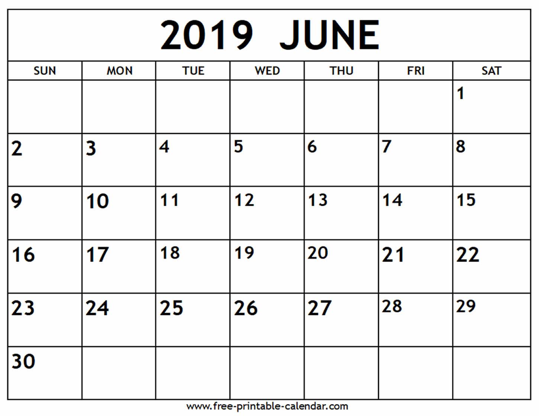 June 2019 Activity Calendar