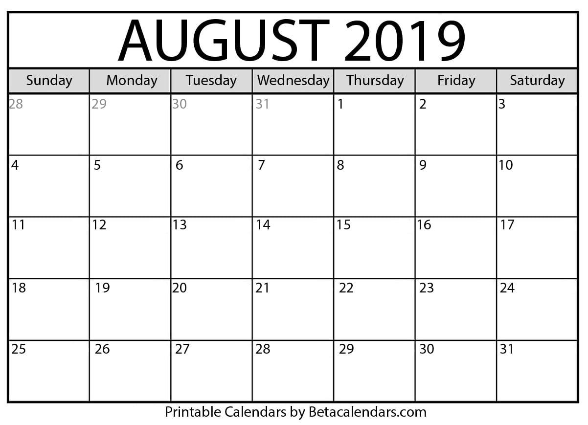 August 2019 Activity Calendar