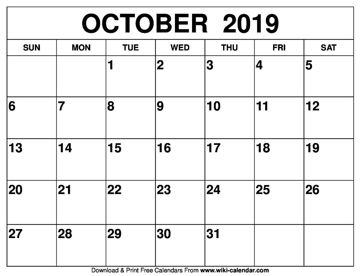 October 2019 Activity Calendar