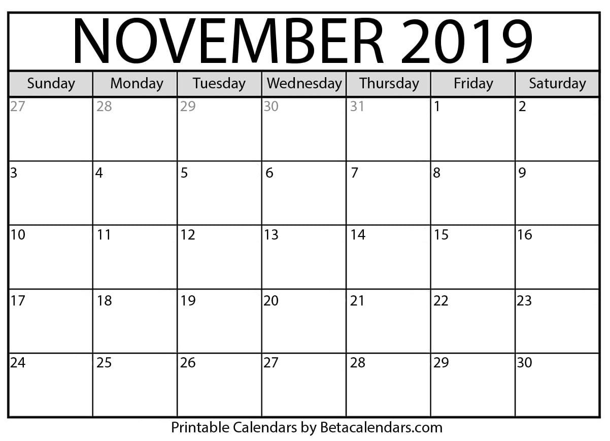 November 2019 Activity Calendar