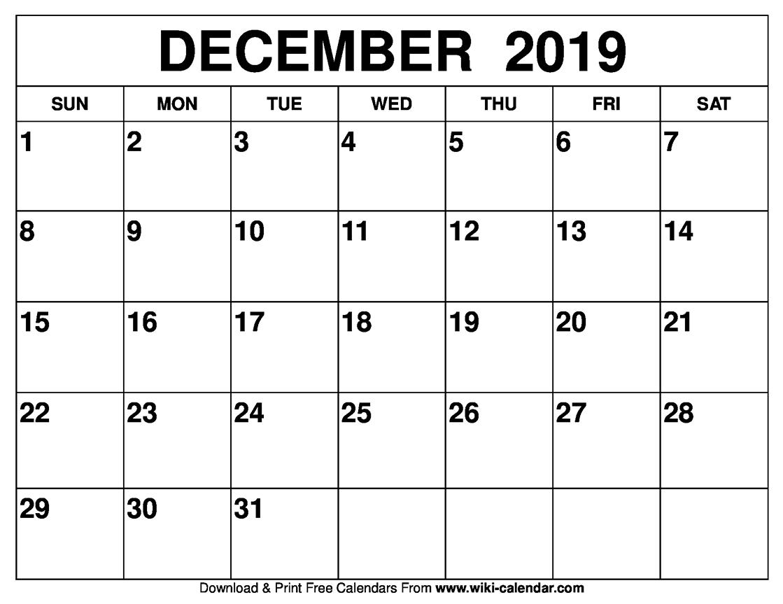 December 2019 Activity Calendar