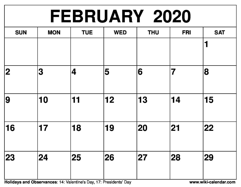 February 2020 Activity Calendar