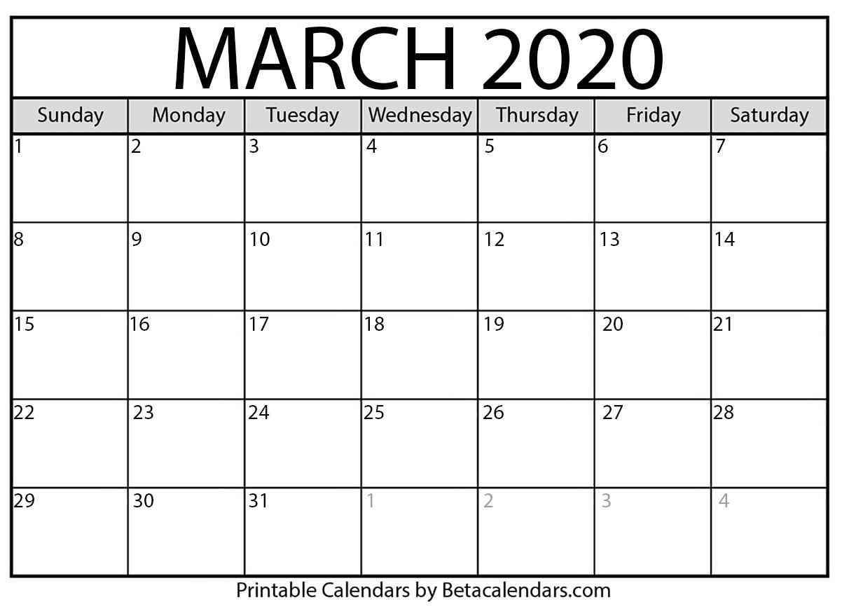 March 2020 Activity Calendar