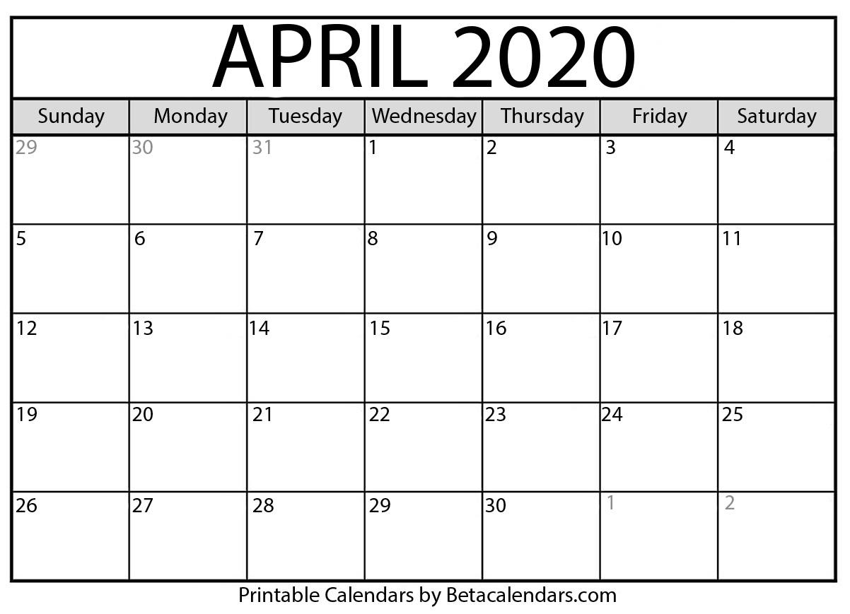 April 2020 Activity Calendar