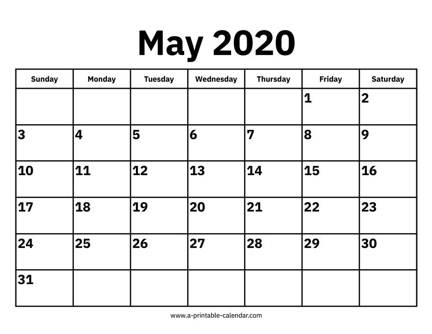 May 2020 Activity Calendar