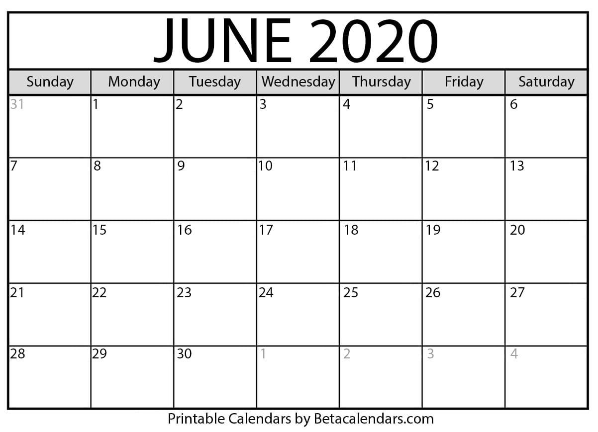 June 2020 Activity Calendar
