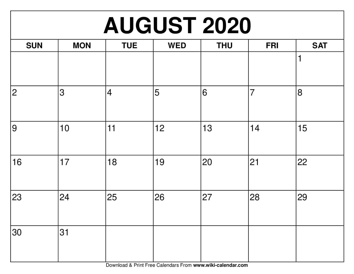 August 2020 Activity Calendar
